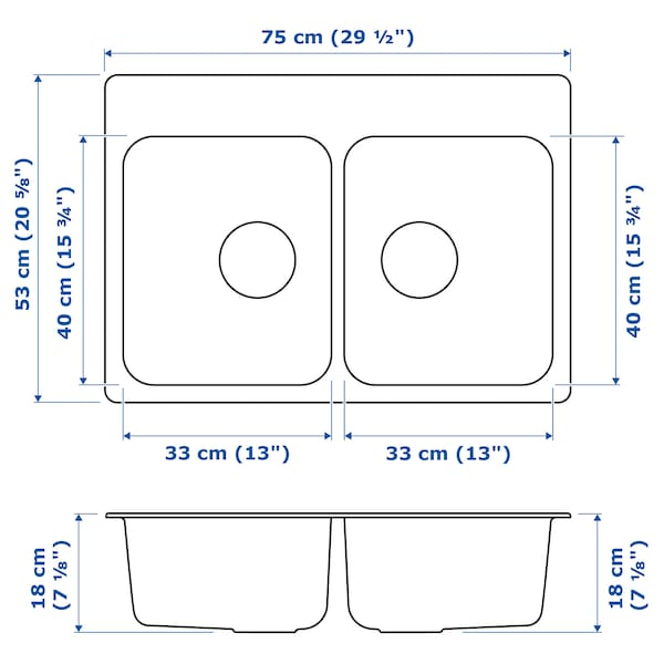 "LÅNGUDDEN double bowl top mount sink stainless steel 19 7/8 "" 28 3/4 "" 7 1/8 "" 13 "" 15 3/4 "" 5 gallon 7 1/8 "" 13 "" 15 3/4 "" 5 gallon 20 5/8 "" 29 1/2 "" 20 5/8 """