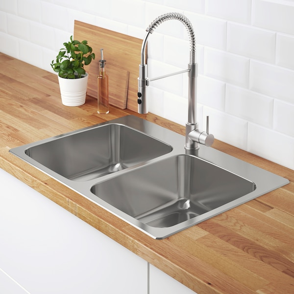 LÅngudden Double Bowl Top Mount Sink