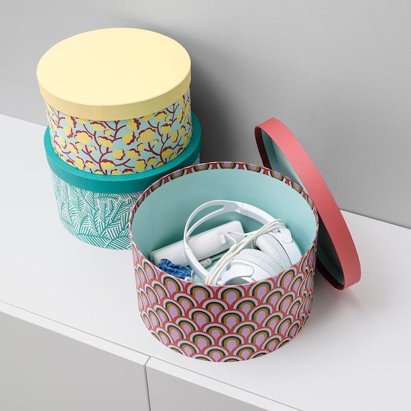 LANKMOJ box with lid, set of 3 multicolor/paper