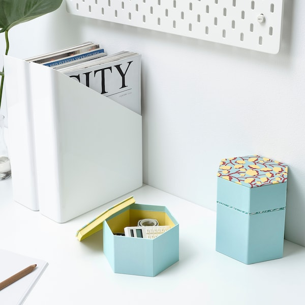 LANKMOJ decorative box, set of 3 light blue/patterned 3 pack