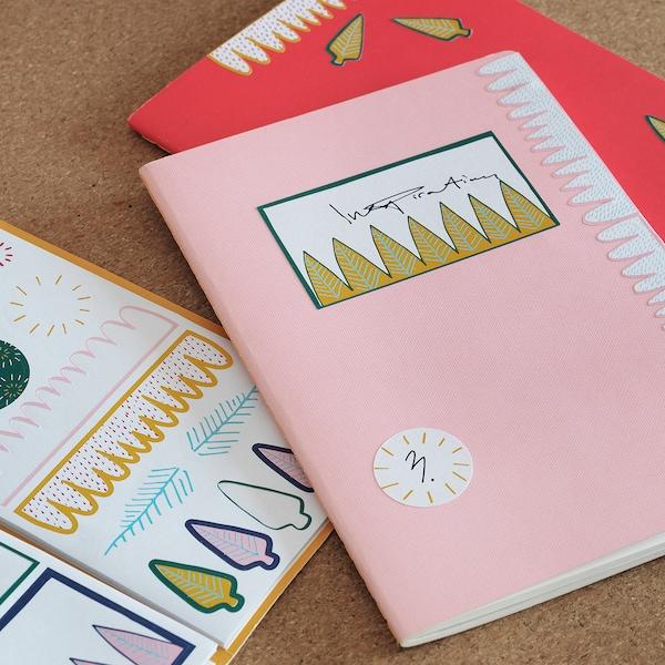 "LANKMOJ folder with stickers white blue/pink 4 ¼ "" 7 """