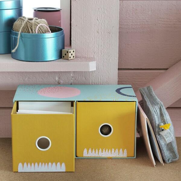 "LANKMOJ mini chest with 2 drawers multicolor 9 ¾ "" 5 "" 5 """