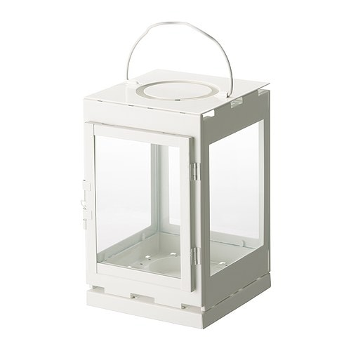 "LANTSTÄLLE Lantern for candle in a metal cup white Height: 9 ""  Height: 23 cm"