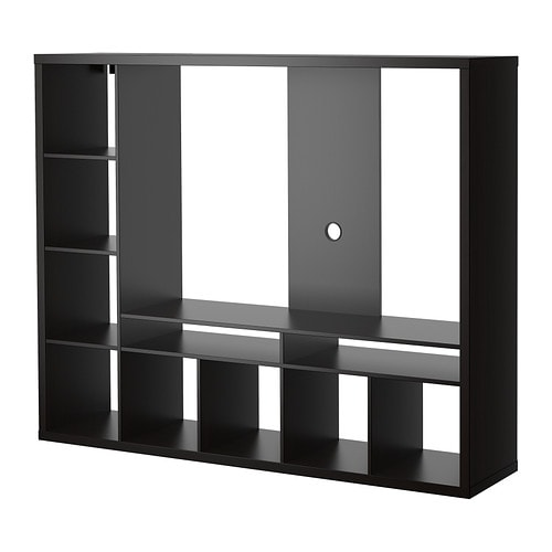 Lappland tv storage unit black brown ikea for Media and tv storage furniture