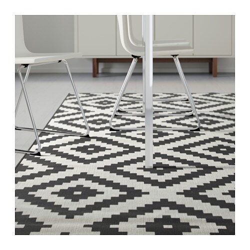 lappljung ruta rug low pile 6 7 x9 10 ikea - Black And White Rug