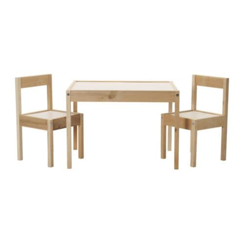 LÄTT Children's table and 2 chairs, white, pine white/pine -