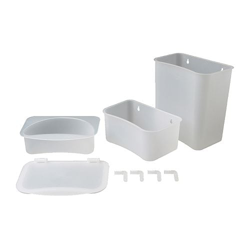 LÄTTSAM Changing table baskets set of 3 IKEA Can stand alone or be hung on the wall.  Frame with lid holds a waste bag.  Adjustable suspension.