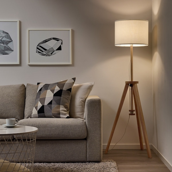LAUTERS Floor lamp with LED bulb, ash/white