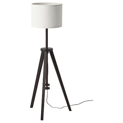 LAUTERS Floor lamp with LED bulb, brown ash/white