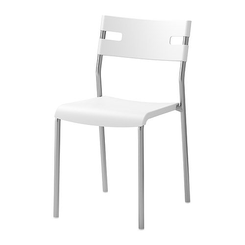 LAVER Chair IKEA Stackable; saves space when not in use.