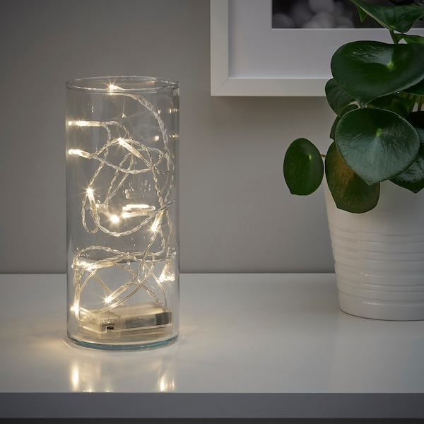 LEDFYR LED string light with 12 lights, indoor/battery operated silver color
