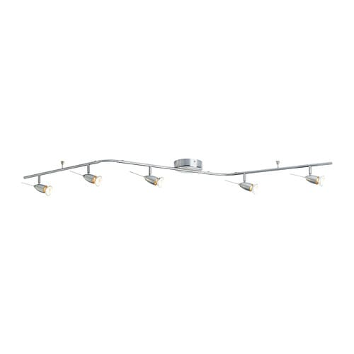 LEDING Ceiling track, 5-spots IKEA Adjustable arms and spotlights allow you to direct the light.