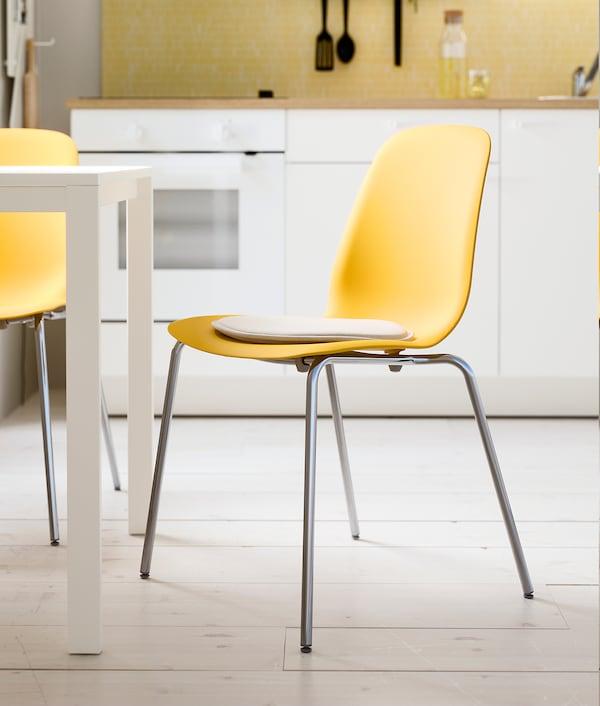 "LEIFARNE chair dark yellow/Broringe chrome plated 243 lb 20 1/2 "" 20 1/2 "" 32 1/4 "" 17 3/4 "" 14 1/8 "" 18 1/8 """