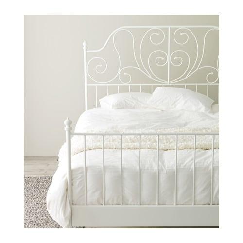 LEIRVIK Bed Frame White Lur Y
