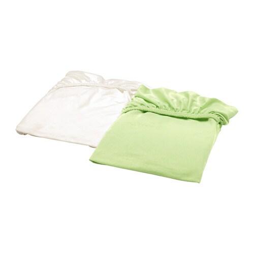 LEN Crib fitted sheet, white, green white/green 28x52