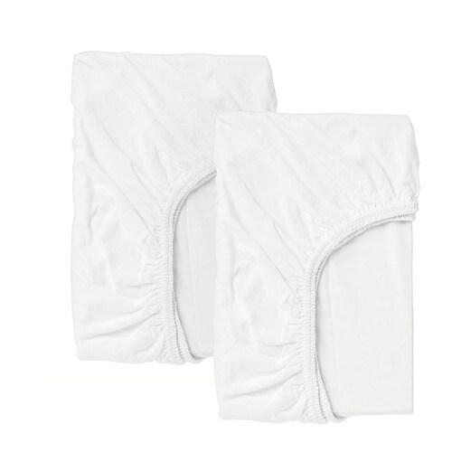 LEN Crib fitted sheet, white white 28x52