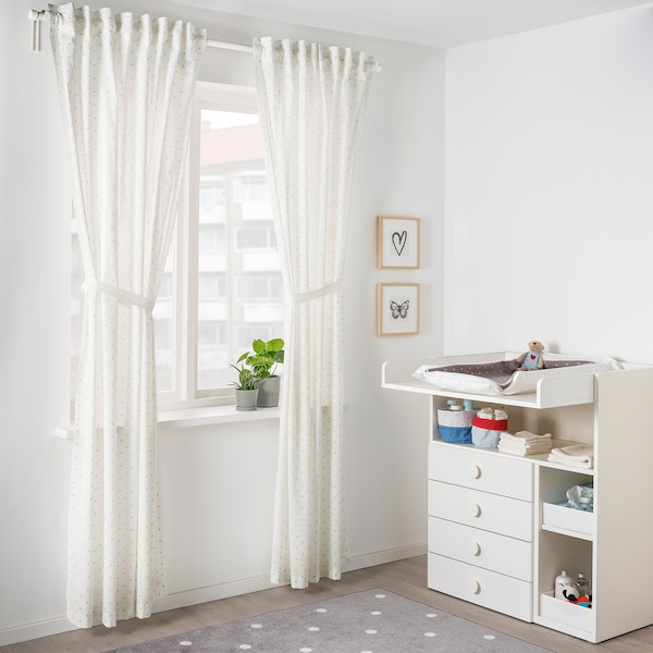 """LEN Curtains with tie-backs, 1 pair, dotted/white, 47x98 """""""