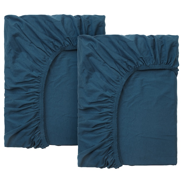 LEN Fitted sheet f/extend bed, set of 2, dark turquoise
