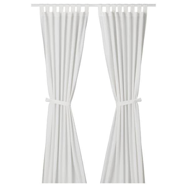 "LENDA Curtains with tie-backs, 1 pair, white, 55x118 """