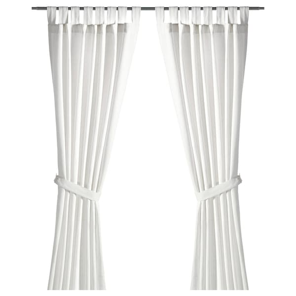Curtains With Tie Backs 1 Pair Lenda Bleached White