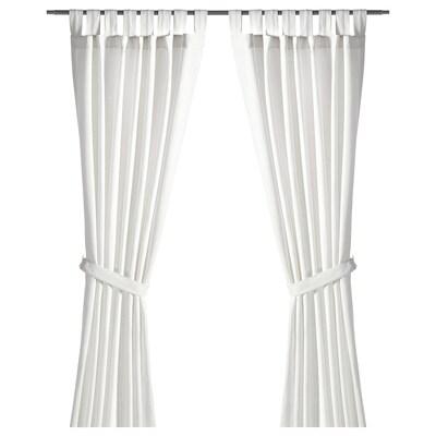 """LENDA curtains with tie-backs, 1 pair white 98 """" 55 """" 3 lb 12 oz 37.67 sq feet 2 pack"""