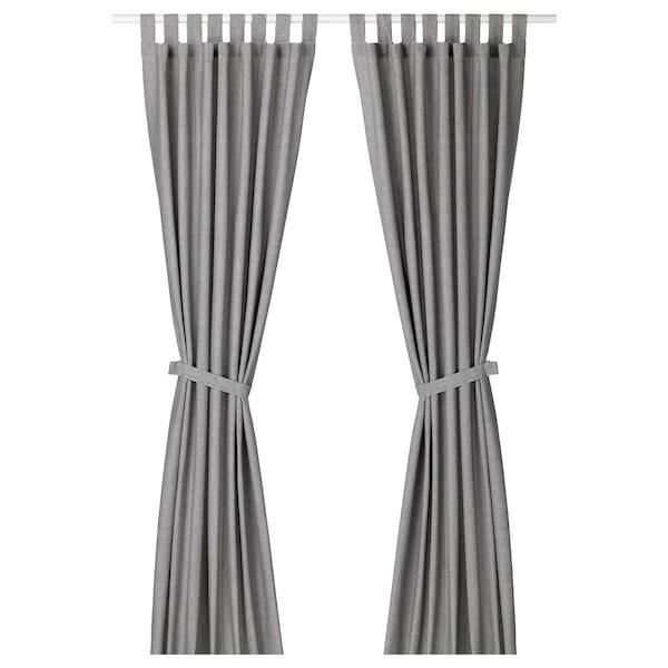 Curtains With Tie Backs 1 Pair Lenda Gray