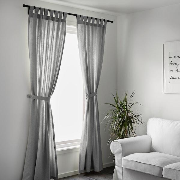 "LENDA curtains with tie-backs, 1 pair gray 98 "" 55 "" 3 lb 15 oz 37.67 sq feet 2 pack"