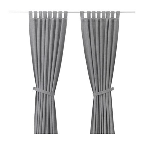 lenda curtains with tie backs 1 pair 55x98 ikea. Black Bedroom Furniture Sets. Home Design Ideas