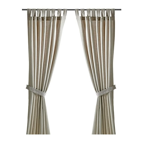 LENDA Curtains with tie-backs, 1 pair IKEA The curtains let the daylight through but reduce direct sunlight.