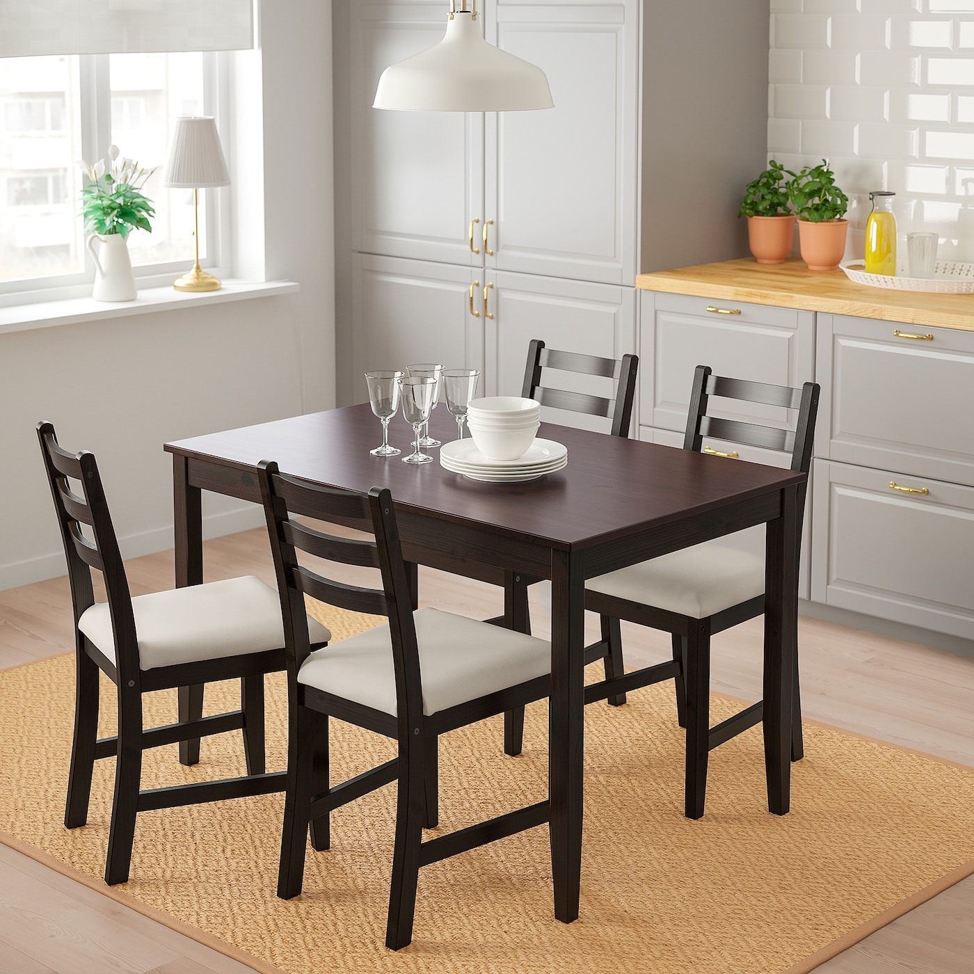 Lerhamn Table And 4 Chairs Black Brown