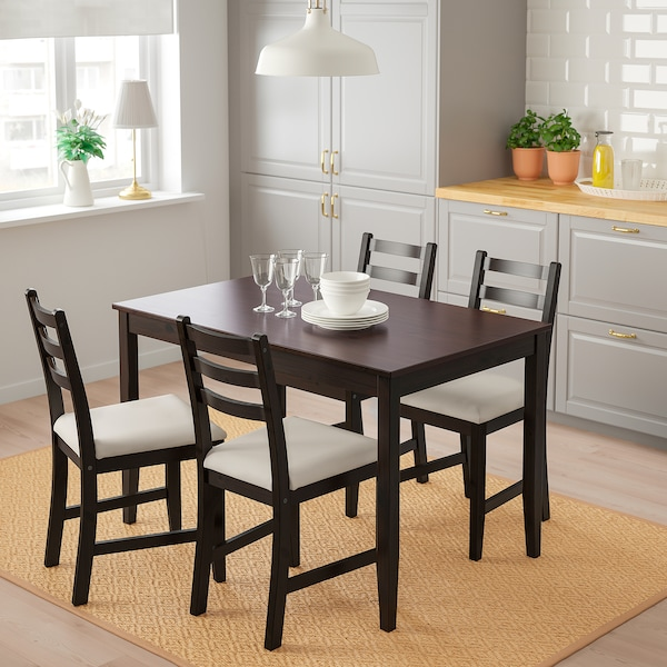 Table and 4 chairs LERHAMN black-brown, Vittaryd beige