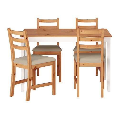 LERHAMN Table and 4 chairs, light antique stain, Vittaryd beige