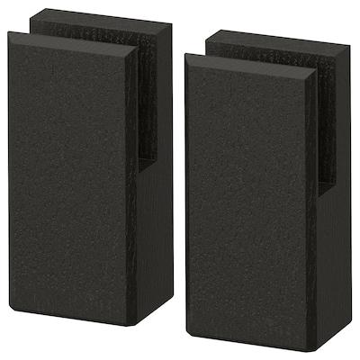 "LERHYTTAN leg for decorative toekick black stained 2 1/8 "" 1 5/8 "" 4 1/4 "" 2 pack"