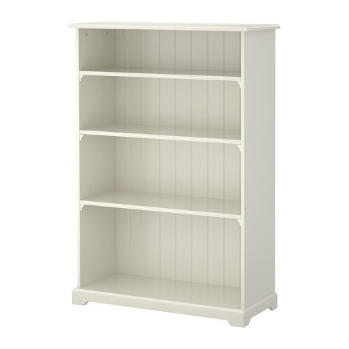 LIATORP Bookcase IKEA 3 adjustable shelves.  Adjustable feet for stability on uneven floors.