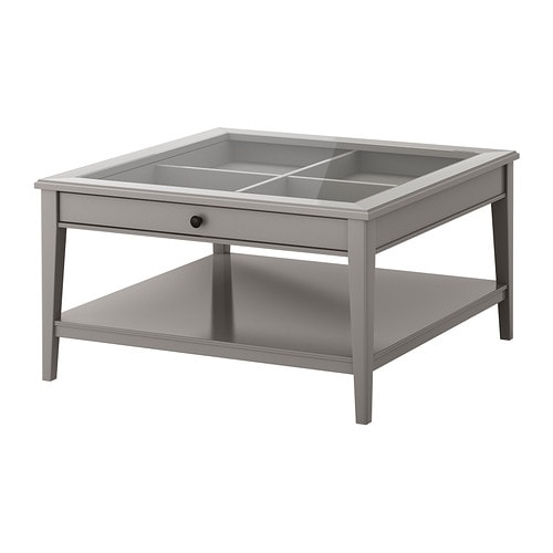 LIATORP Coffee table, gray, glass gray/glass 36 5/8x36 5/8