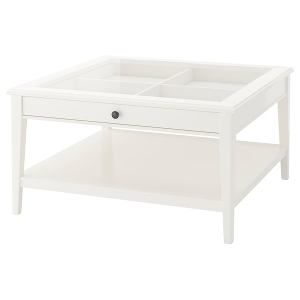 LIATORP Coffee table, white/glass, 36 5/8x36 5/8 ""