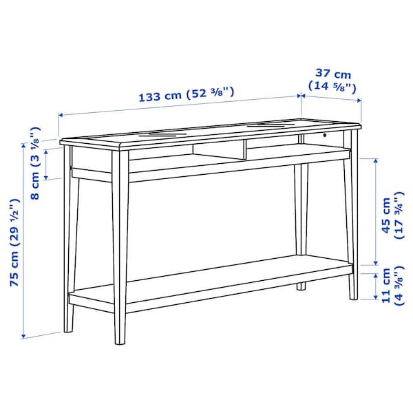 "LIATORP Console table, white/glass, 52 3/8x14 5/8 """