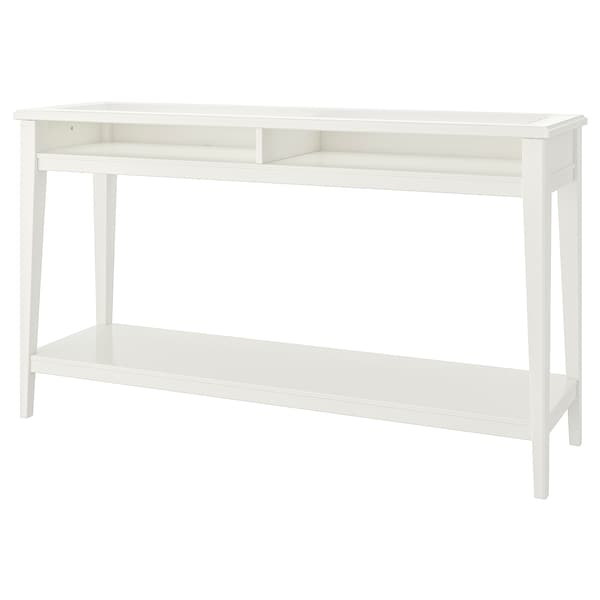 LIATORP Console table, white/glass, 52 3/8x14 5/8 ""