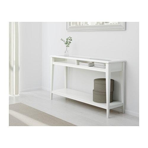 LIATORP Console table, white, glass white/glass 52 3/8x14 5/8