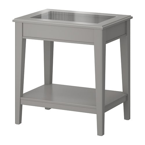 LIATORP Side table, gray, glass gray/glass 22 1/2x15 3/4