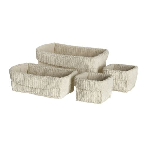 LIDAN Basket, set of 4 IKEA Handmade. Each basket is unique. Suitable for use in damp spaces.