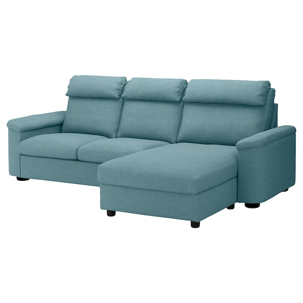 Sleeper sofa LIDHULT with chaise, Gassebol blue/gray