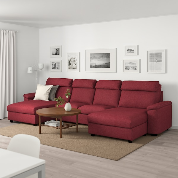 Sectional, 4-seat LIDHULT with chaise, Lejde red/brown red-brown