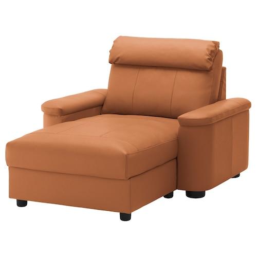 "LIDHULT chaise Grann/Bomstad golden brown 40 1/8 "" 29 1/8 "" 54 3/8 "" 63 "" 2 3/4 "" 35 3/8 "" 50 3/8 "" 16 1/2 """