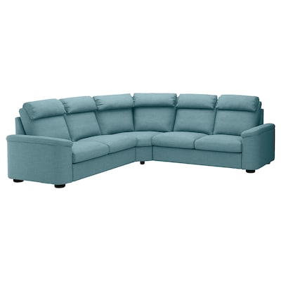 LIDHULT Corner sleeper sofa, 5-seat, Gassebol blue/gray