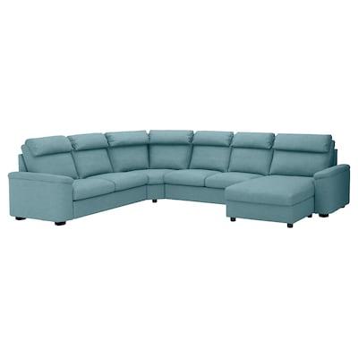 LIDHULT Corner sleeper sofa, 6-seat, with chaise/Gassebol blue/gray