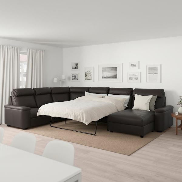 LIDHULT Corner sleeper sofa, 6-seat, with chaise/Grann/Bomstad dark brown