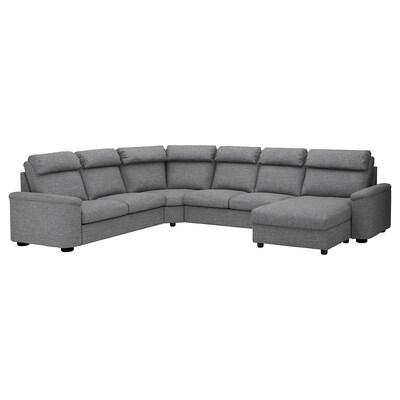 LIDHULT Corner sleeper sofa, 6-seat, with chaise/Lejde gray/black