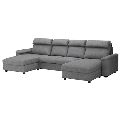 LIDHULT Sectional, 4-seat, with chaise/Lejde gray/black