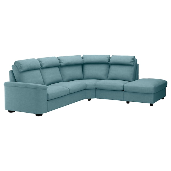 LIDHULT Sectional, 5-seat corner, with open end/Gassebol blue/gray